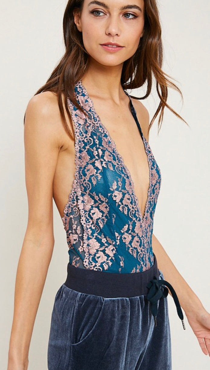 Sheer Two Toned Teal Lace Bodysuit
