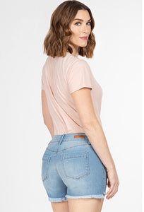 Mid-rise Hi-Lo Frayed Hem Denim Shorts