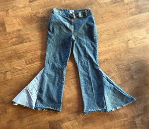 TJ Retro St Johns Bay Belted High Waisted Flare Jeans Size 12 Petite