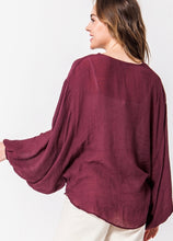 Load image into Gallery viewer, Bell Sleeve Surplice Sheer Top - Modish Boho Boutique