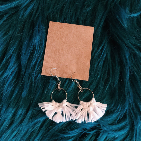 Mini white tassel macrame earrings