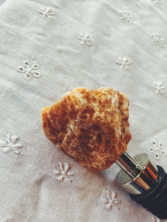 Orange Calcite gemstone wine bottle stopper.