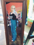 Rango Teal Blue Faux Suede Flare Buckle Pants