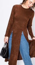 Load image into Gallery viewer, Brown Double Front Slit Light Weight Sweater Top