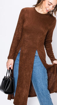 Brown Double Front Slit Light Weight Sweater Top