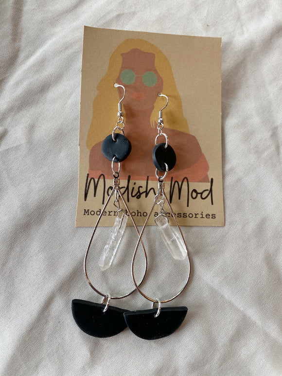 Clear Quartz Dangle Black Polymer Clay Earrings