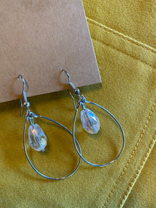 one bead drop hanging inside wire hoop