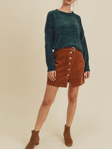 Corduroy buckle skirt with snap buttons