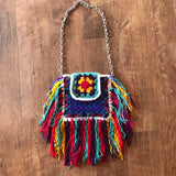 Granny square fringe purse
