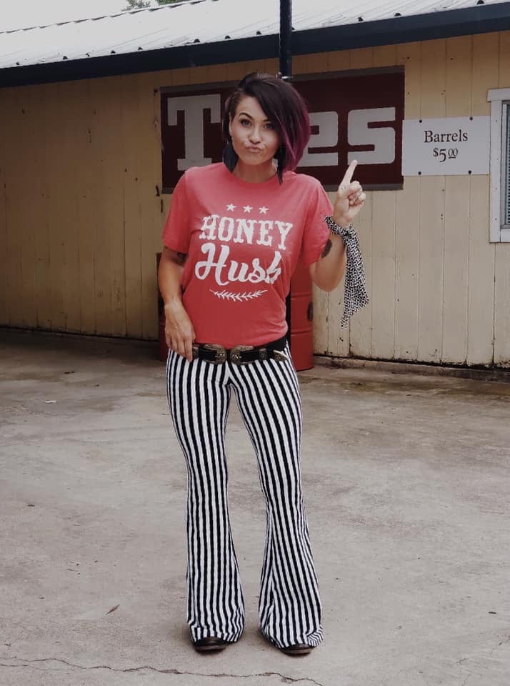 Striped Black and White Flare Bell Pants