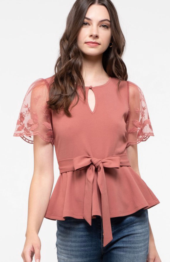 Rose Mauve Pink Floral Lace Sleeve Belted Blouse