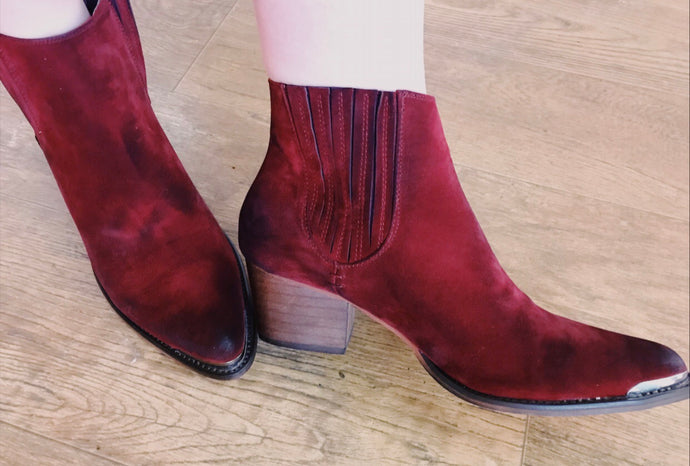 Burgundy red suede metal tip cowgirl booties - Modish Boho Boutique