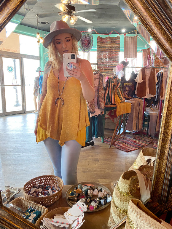 Rays of Summer Double Layer Mustard Gold Yellow Tank Top