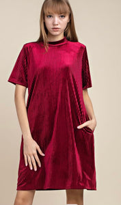 Leonora Wine Colored Ribbed Velvet Tshirt Dress