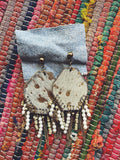 Gold Metallic  Cowhide Bead and Chain Dangle Earrings