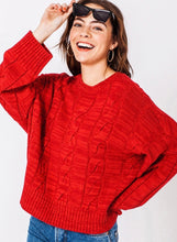 Load image into Gallery viewer, Red vintage style cable sweater