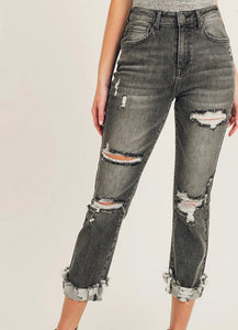Mila Washed Black Distressed Straight Leg Jeans