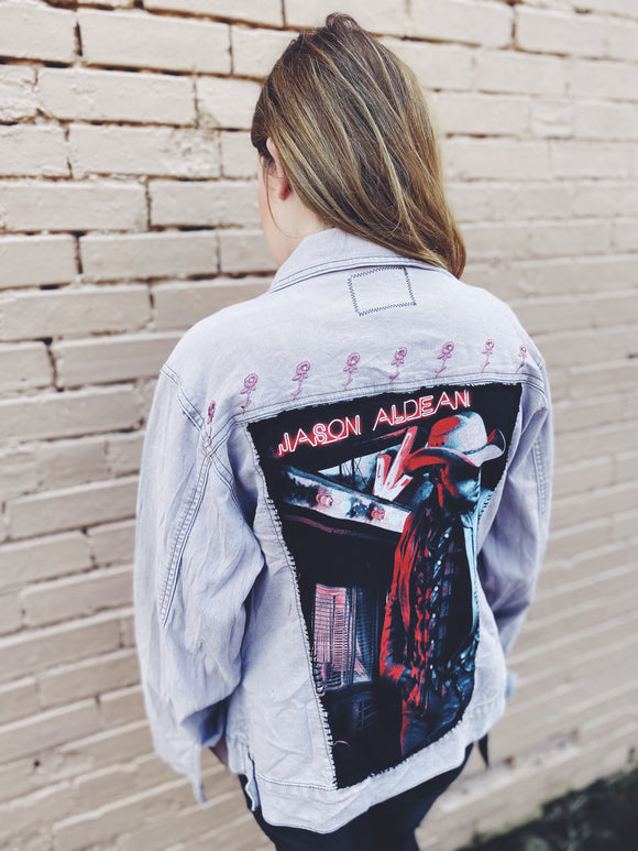 Concert tee blush denim jacket