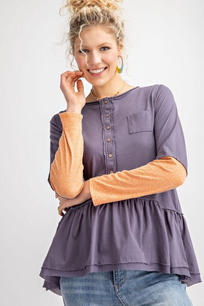 Two Toned Long Sleeve Pepulum Style Shirt - Modish Boho Boutique