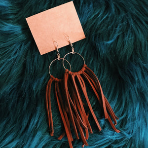 Leather cord tassel earrings