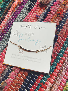 "Thoughts of You ""Keep Smiling"" Chain Bracelet"