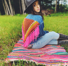 Load image into Gallery viewer, Upcycled vintage denim jacket with crochet fringe