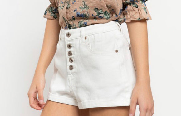 The Classic Button fly Rolled hem denim white shorts
