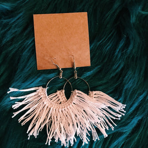 Large white macrame tassel earrings