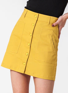 Light Mustard Green Skirt with pockets and button front