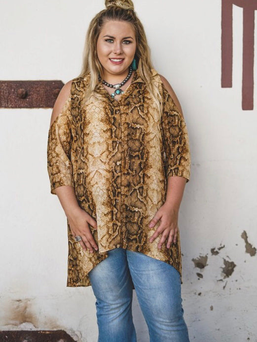 Plus size golden snakeprinted button up cold shoulder high low sheer top - Modish Boho Boutique