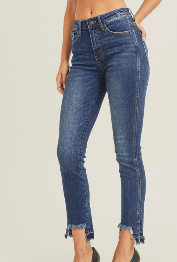 Vicky Distressed Ankle High Rise Jeans