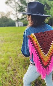 Upcycled vintage denim jacket with crochet fringe
