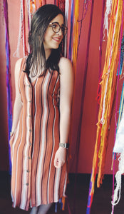 Striped button up midi dress