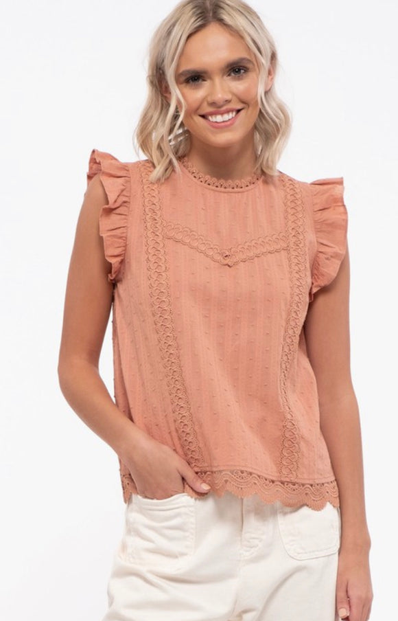 Heather Peach Colored Ruffled Tank Blouse