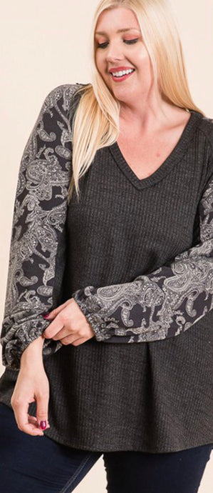 Plus size Charcoal thermal with paisley printed bell sleeves