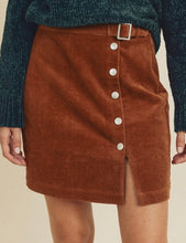 Load image into Gallery viewer, Corduroy buckle skirt with snap buttons