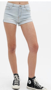 Light wash rolled hem denim shorts