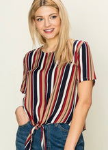 Load image into Gallery viewer, Striped Tie Front Short Sleeve Blouse - Modish Boho Boutique