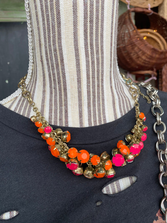 Pink and orange vintage style necklace