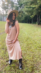 Natural Crochet Neckline Maxi Tank Dress