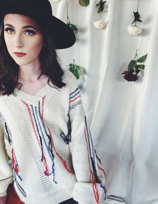 The Marlowe Striped and Distress Sweater