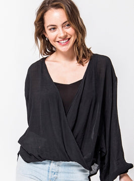 Black Bell Sleeve Surplice Sheer Top