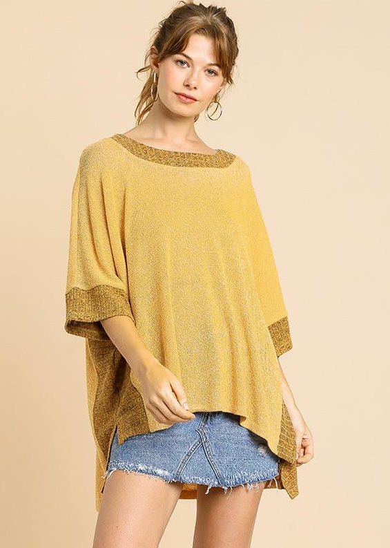 Mustard Heathered Knit 3/4 Sleeve Women's Blouse with Round Neck and High Low Hem