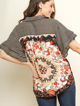 Load image into Gallery viewer, Striped Button Up Pasiley Printed Blouse - Modish Boho Boutique