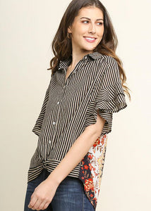 Striped Button Up Pasiley Printed Blouse - Modish Boho Boutique