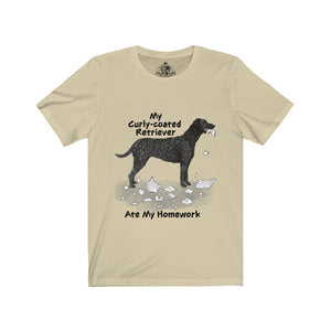 My Curly Coated Retriever Ate My Homework Unisex Jersey Short Sleeve Tee