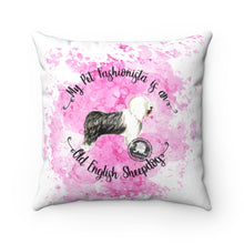 Load image into Gallery viewer, Old English Sheep Dog Pet Fashionista Square Pillow