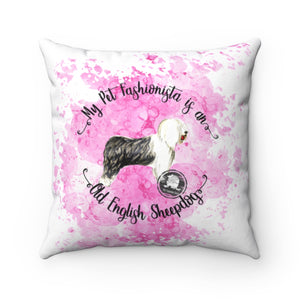 Old English Sheep Dog Pet Fashionista Square Pillow