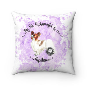 Papillon Pet Fashionista Square Pillow