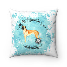 Load image into Gallery viewer, Bull Mastiff Pet Fashionista Square Pillow